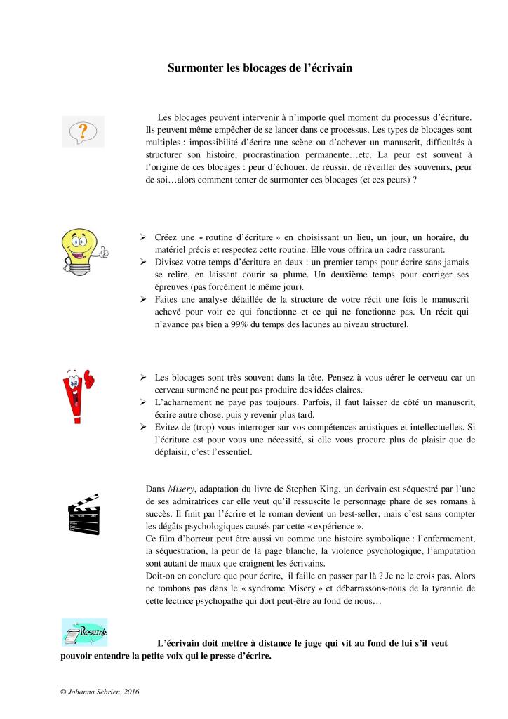 Article 5 Surmonter les blocages de lecrivain